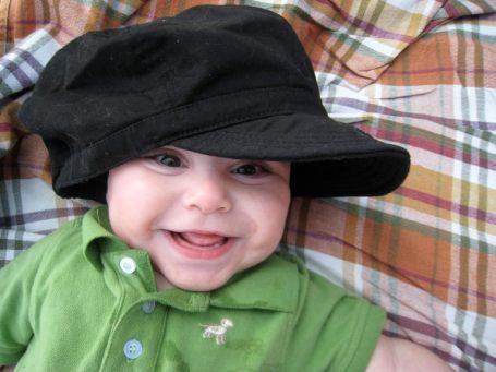 Levi in mama's hat