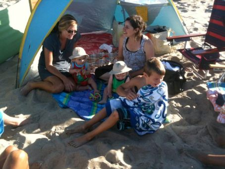 Alex, Karen, Pabs, Levi and Will at the beach